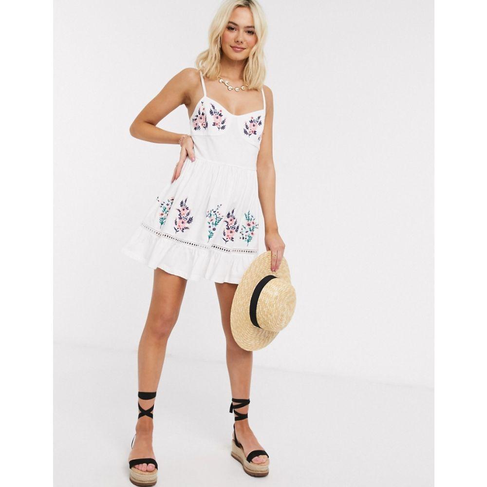 エイソス ASOS DESIGN レディース ワンピース キャミワンピ ワンピース・ドレス【mini cami dress with embroidery detail in white】White