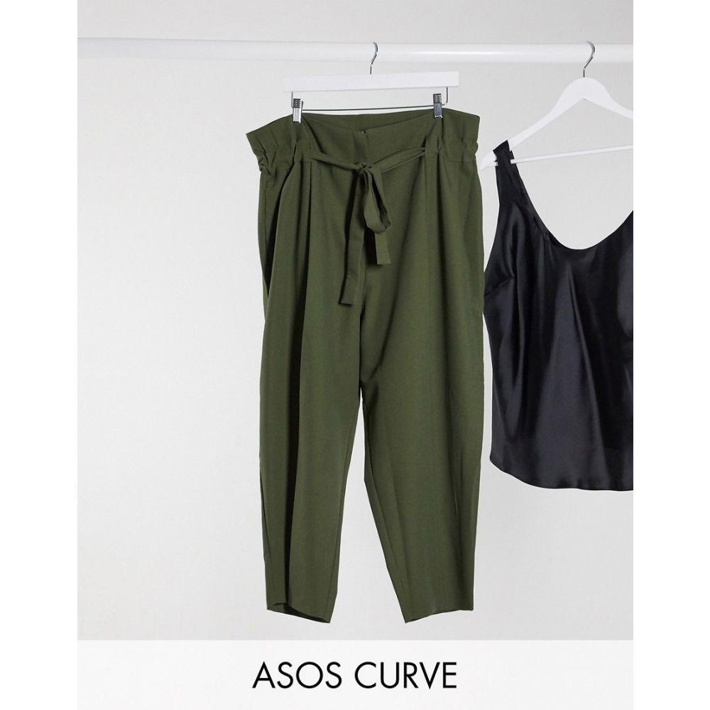 エイソス ASOS Curve レディース クロップド ボトムス・パンツ【ASOS DESIGN Curve tailored tie waist tapered ankle grazer trousers】Forest