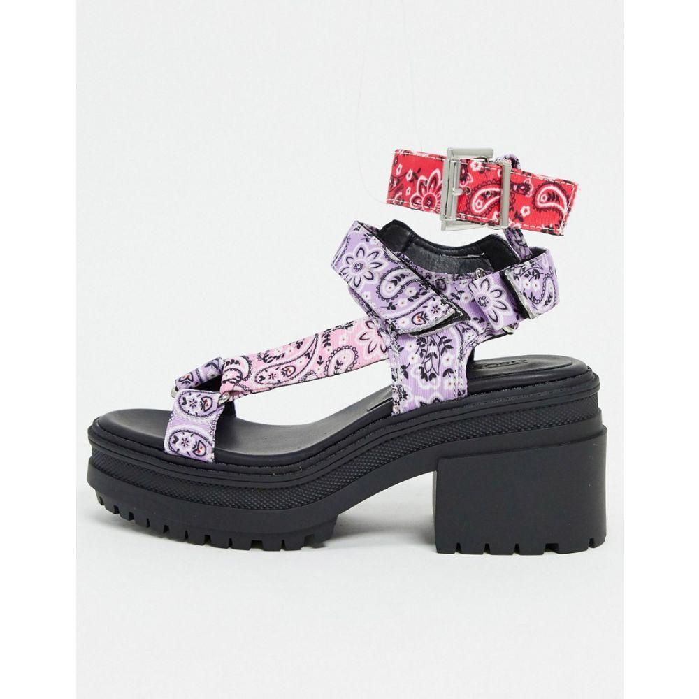 エイソス ASOS DESIGN レディース サンダル・ミュール チャンキーヒール シューズ・靴【Hawkin chunky sandals in bandana print】Multi