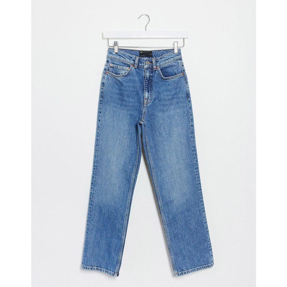 エイソス ASOS DESIGN レディース ジーンズ・デニム ボトムス・パンツ【high rise stretch 'slim' straight leg jeans in midwash】Midwash