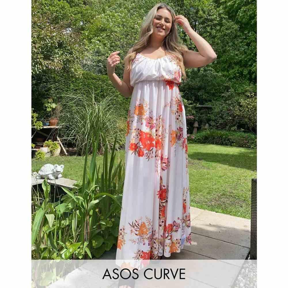 エイソス ASOS Curve レディース ワンピース キャミワンピ ワンピース・ドレス【ASOS DESIGN Curve exclusive cami plunge maxi dress with blouson top in floral print】Floral print