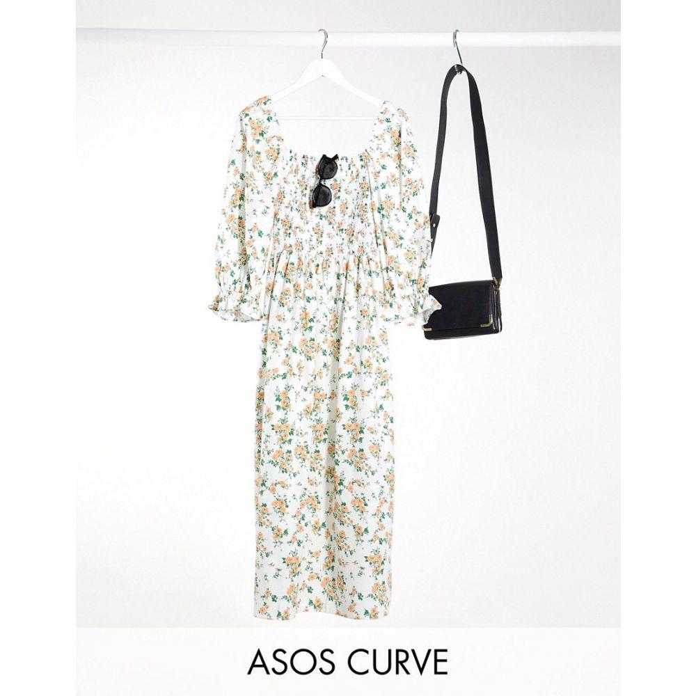 エイソス ASOS Curve レディース ワンピース マキシ丈 ワンピース・ドレス【ASOS DESIGN Curve shirred cotton maxi dress in ditsy floral】White based floral