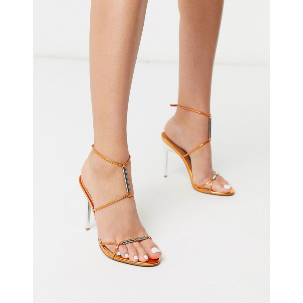 エイソス ASOS DESIGN レディース サンダル・ミュール シューズ・靴【Now metal trim t-bar heeled sandals in copper metallic】Copper metallic