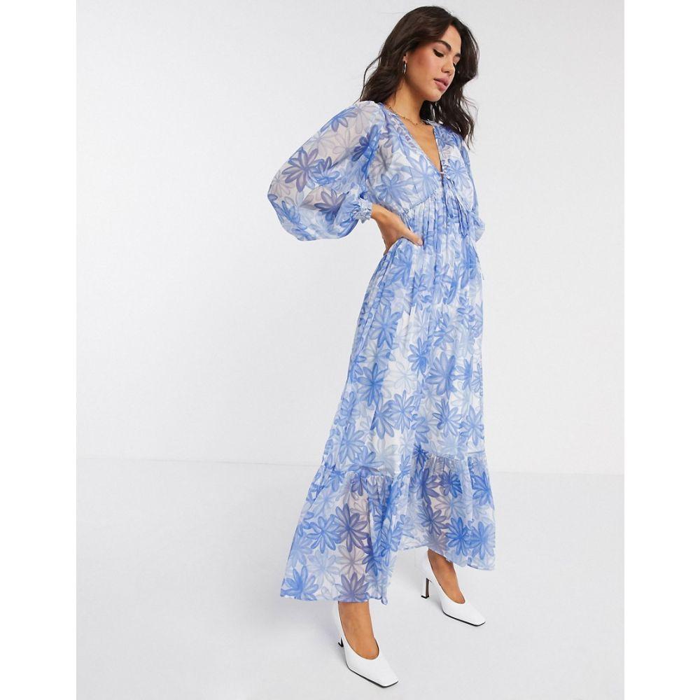 エイソス ASOS DESIGN レディース ワンピース ワンピース・ドレス【soft drawstring waist pleated maxi dress in floral print】Blue floral print