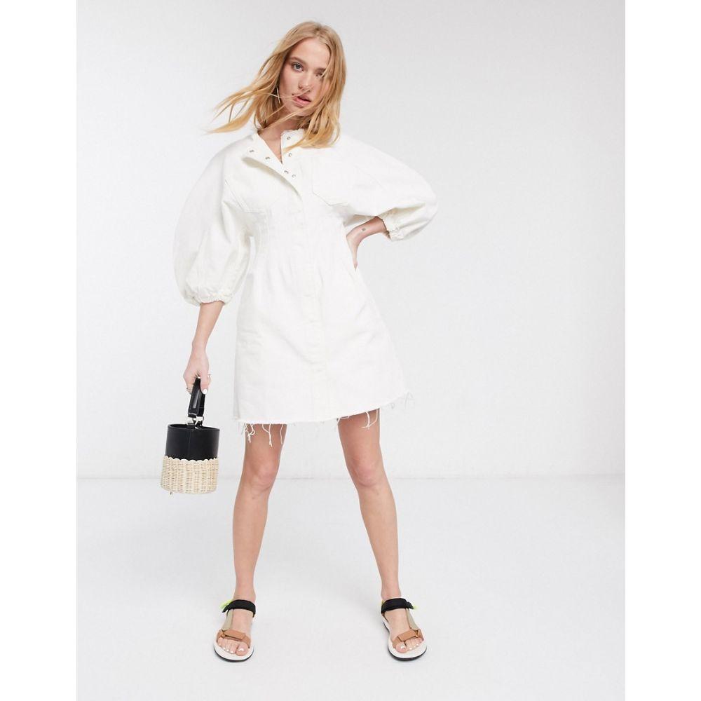 エイソス ASOS DESIGN レディース ワンピース デニム ミニ丈 ワンピース・ドレス【denim contour mini dress in white】White