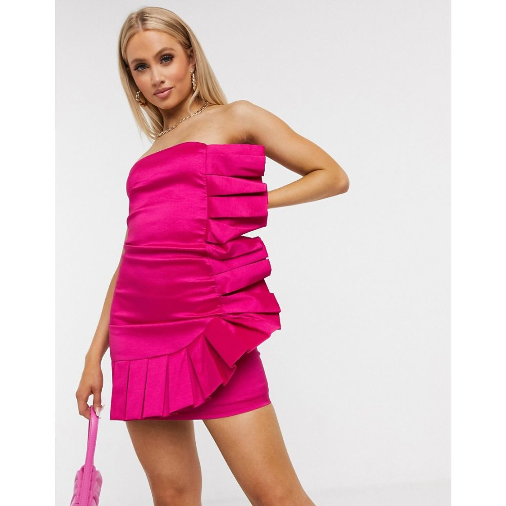 クラブエル ロンドン Club L London レディース ワンピース ミニ丈 ワンピース・ドレス【bandeau pleated ruffle mini dress in hot pink】Pink