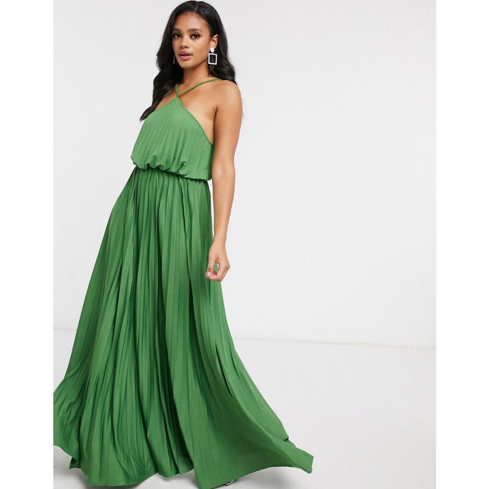 エイソス ASOS DESIGN レディース ワンピース マキシ丈 ワンピース・ドレス【halter neck pleated maxi dress in green】Moss green