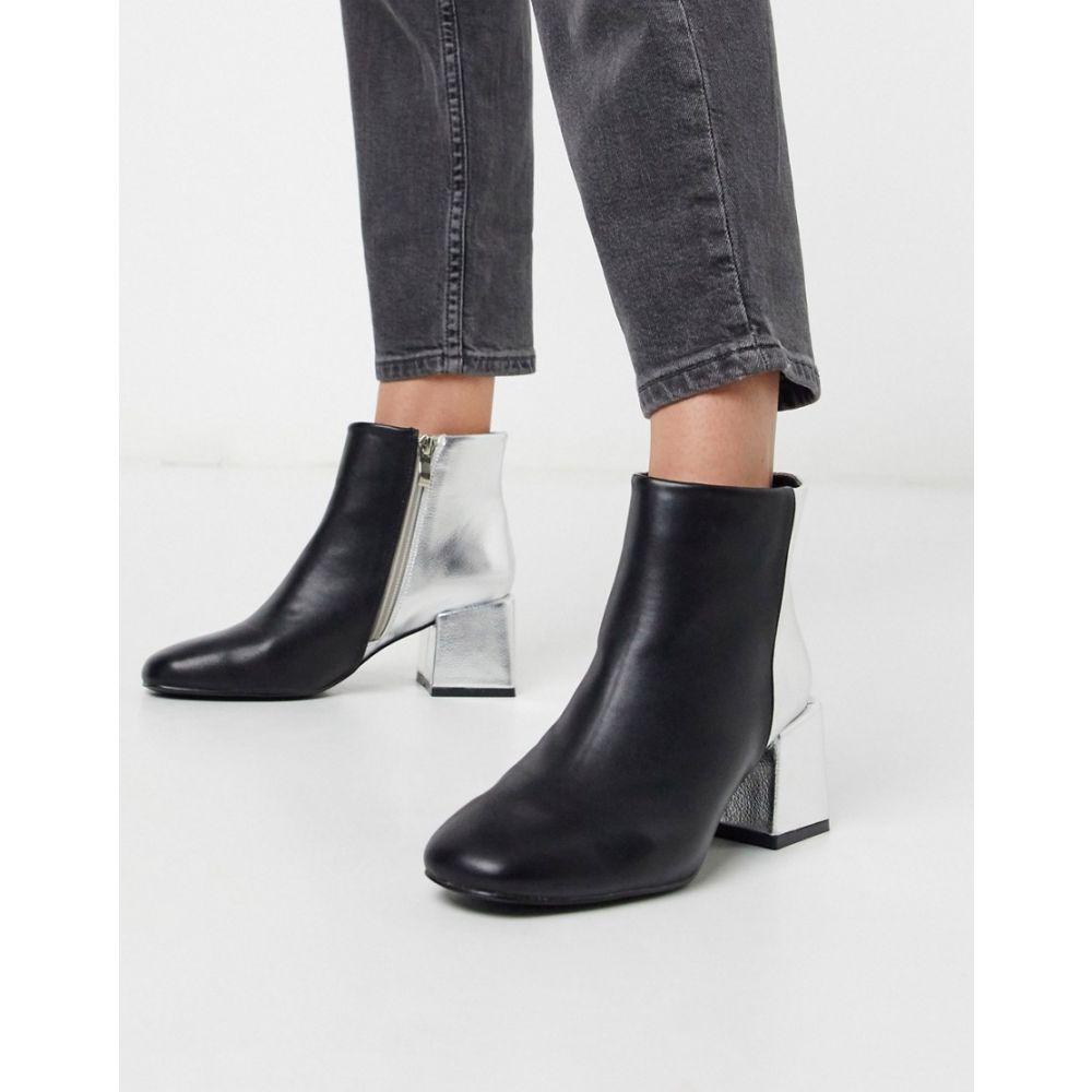 グラマラス Glamorous レディース ブーツ ショートブーツ シューズ・靴【contrast heeled ankle boots】Black silver