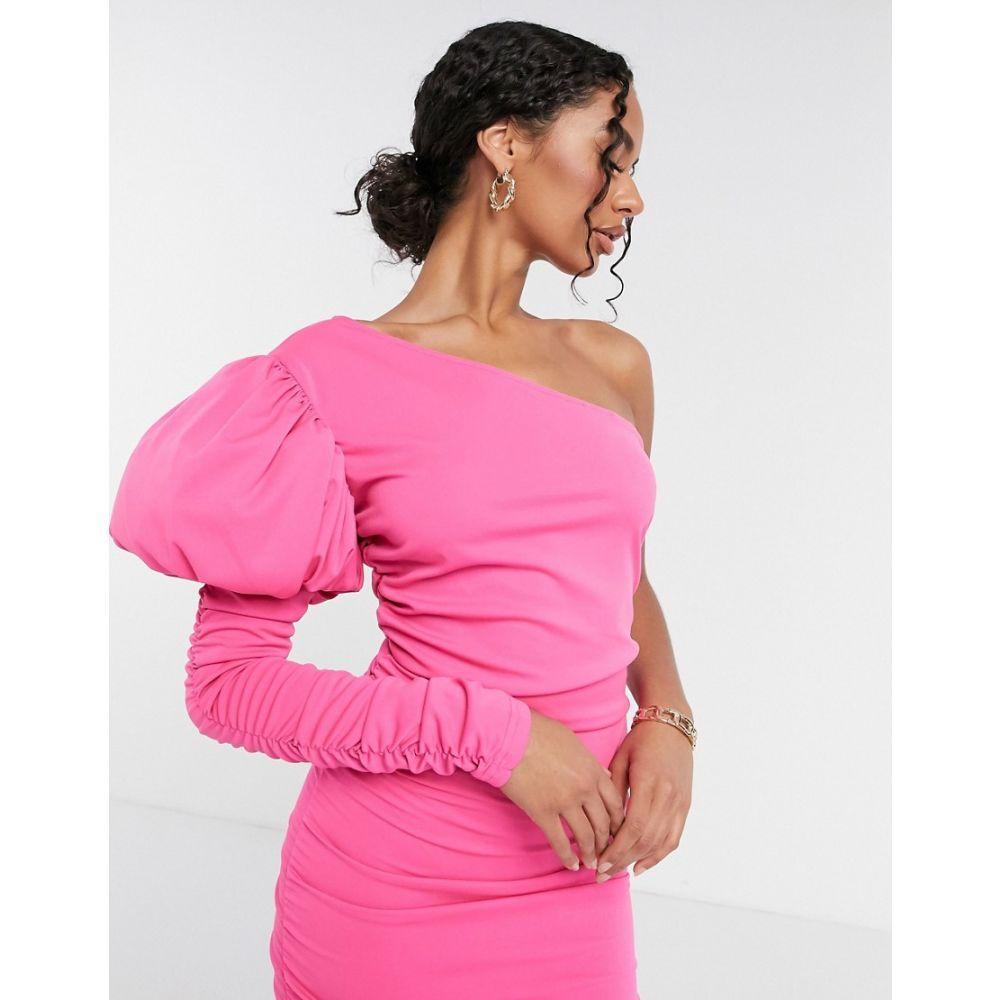モーダ ミンクス Moda Minx レディース ワンピース ワンピース・ドレス【one shoulder puff sleeve mini dress in pink】Pink