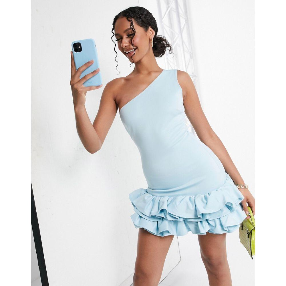 モーダ ミンクス Moda Minx レディース ワンピース ワンピース・ドレス【one shoulder ruffle skirt mini dress in baby blue】Lime chartreuse