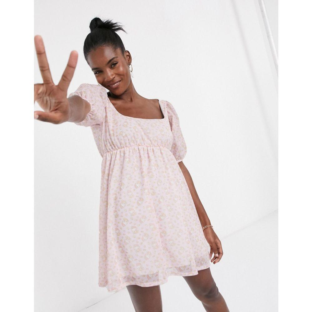 ニューガールオーダー New Girl Order レディース ワンピース ミニ丈 ワンピース・ドレス【x Hello Kitty mini smock dress with puff sleeves in all over print】Pink print