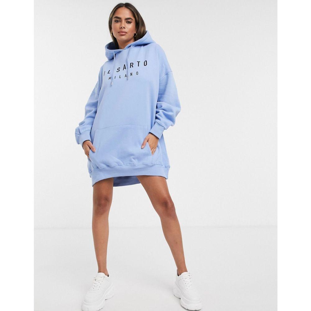 イルサルト Il Sarto レディース ワンピース パーカーワンピース ワンピース・ドレス【oversized hoodie dress in blue】Blue