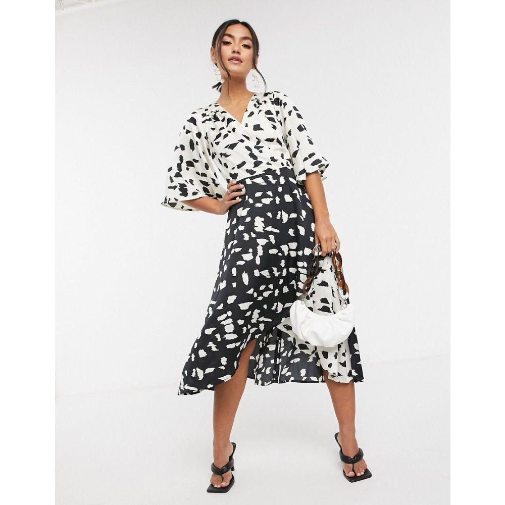 リカリッシュ Liquorish レディース ワンピース ミドル丈 ワンピース・ドレス【kimono sleeve midi dress in abstract spot】Abstract spot
