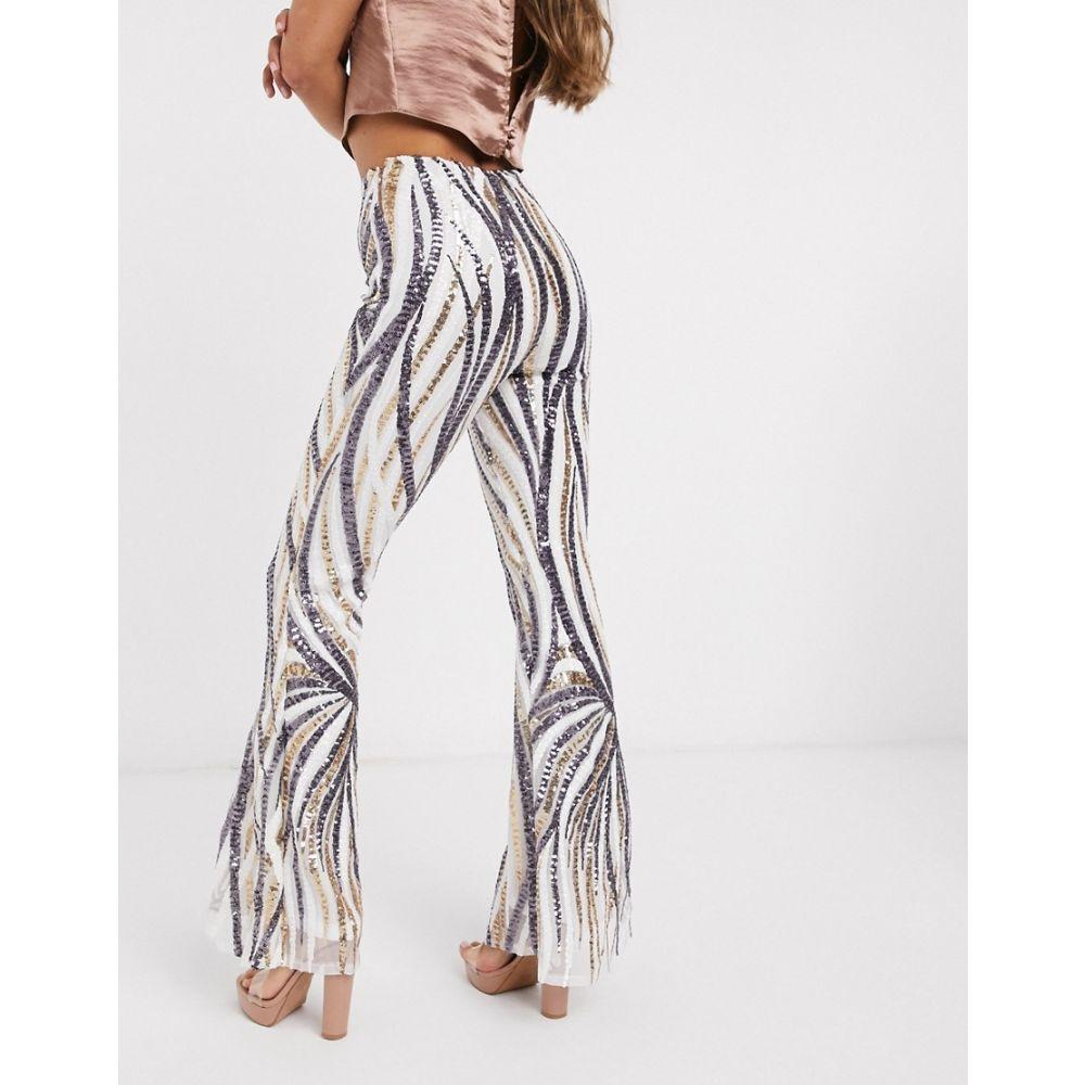 クラブエル ロンドン Club L London レディース ボトムス・パンツ 【sequin flared trousers in white and silver】White/silver