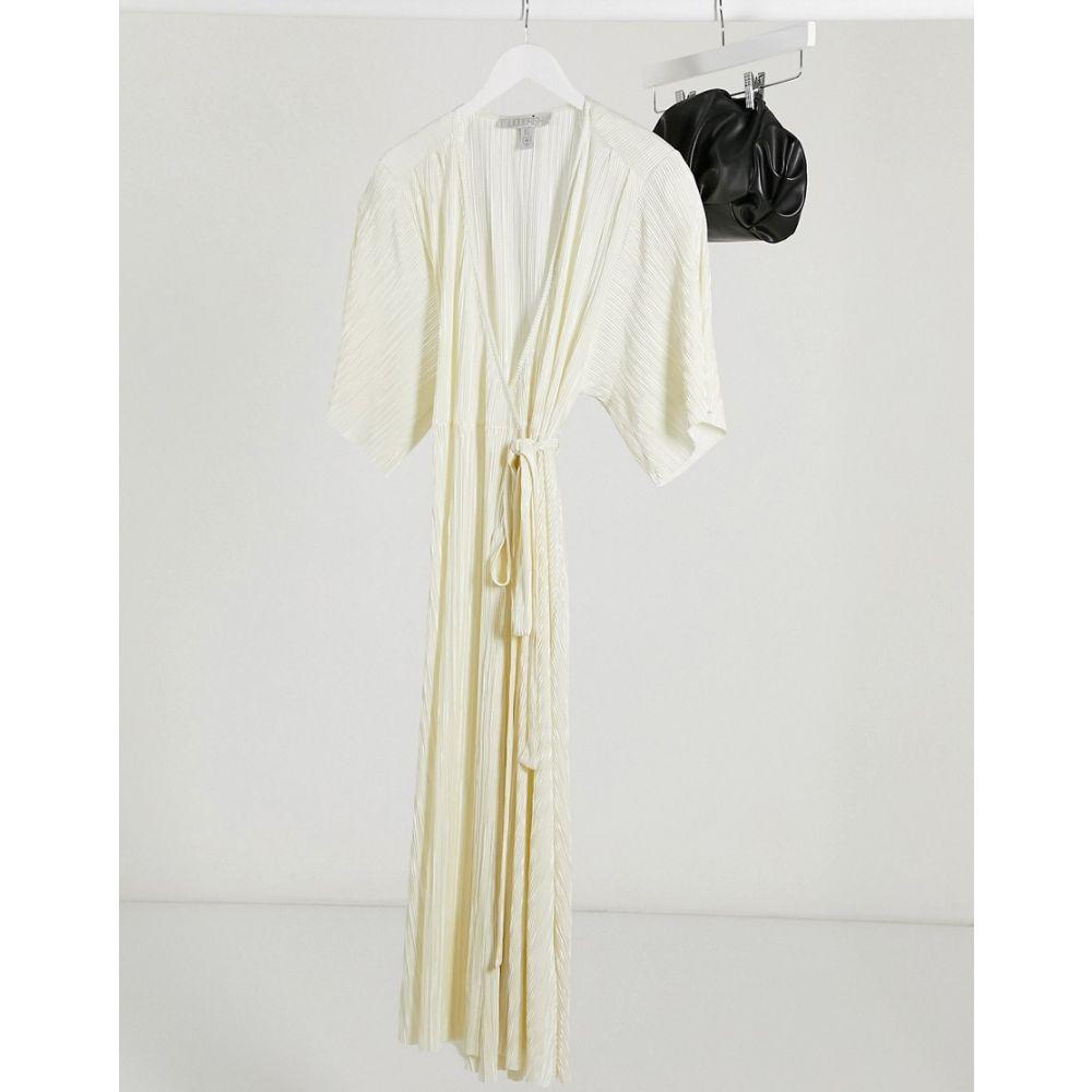 リカリッシュ Liquorish レディース ワンピース ラップドレス ワンピース・ドレス【plisse wrap dress in cream】Cream