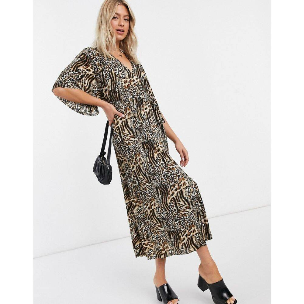 リカリッシュ Liquorish レディース ワンピース ラップドレス ワンピース・ドレス【plisse wrap dress in leopard print】Leopard print