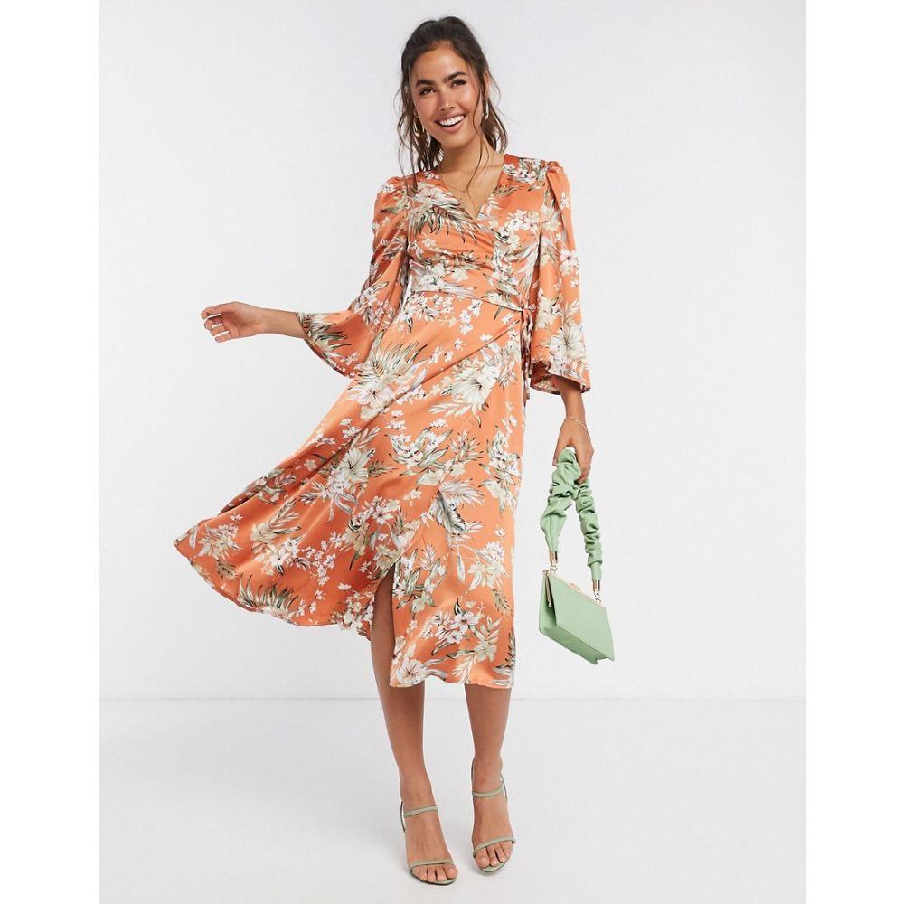 リカリッシュ Liquorish レディース ワンピース ラップドレス ワンピース・ドレス【satin wrap dress in orange floral】Orange floral