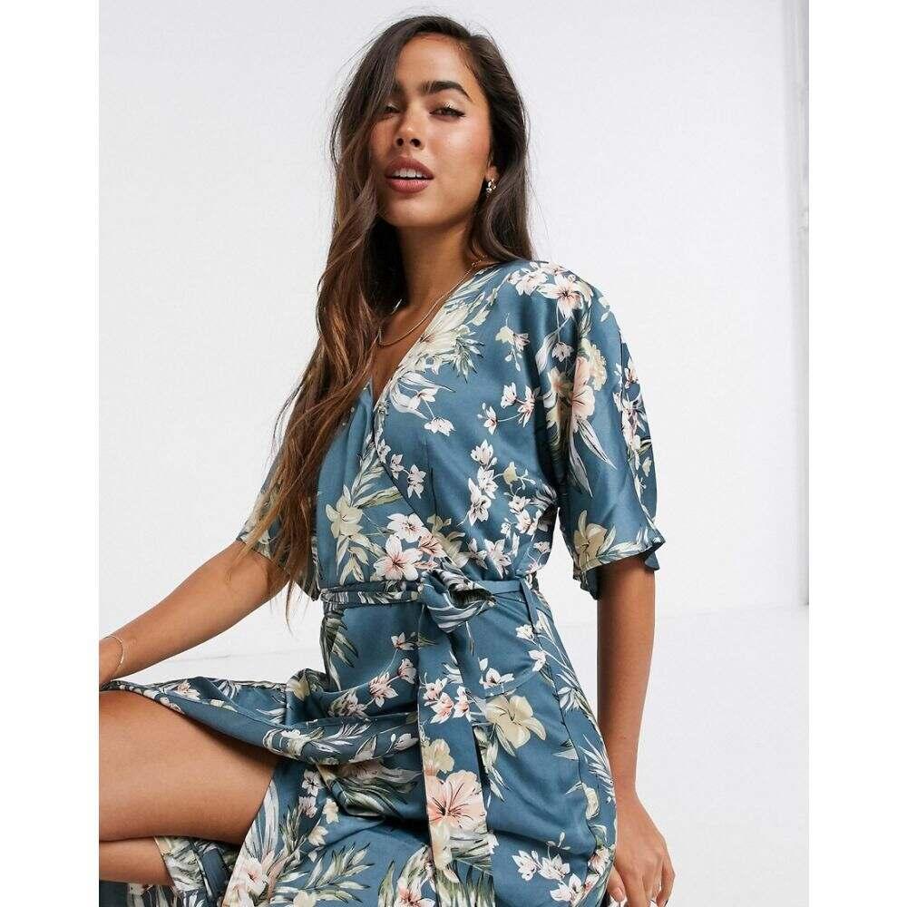 リカリッシュ Liquorish レディース ワンピース ラップドレス ワンピース・ドレス【wrap dress in blue floral】Floral
