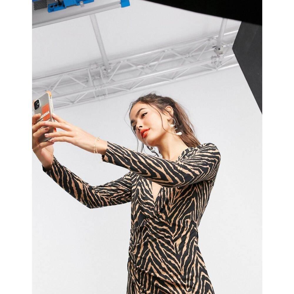 リカリッシュ Liquorish レディース ワンピース ラップドレス ワンピース・ドレス【long sleeve wrap dress in zebra print】Zebra print