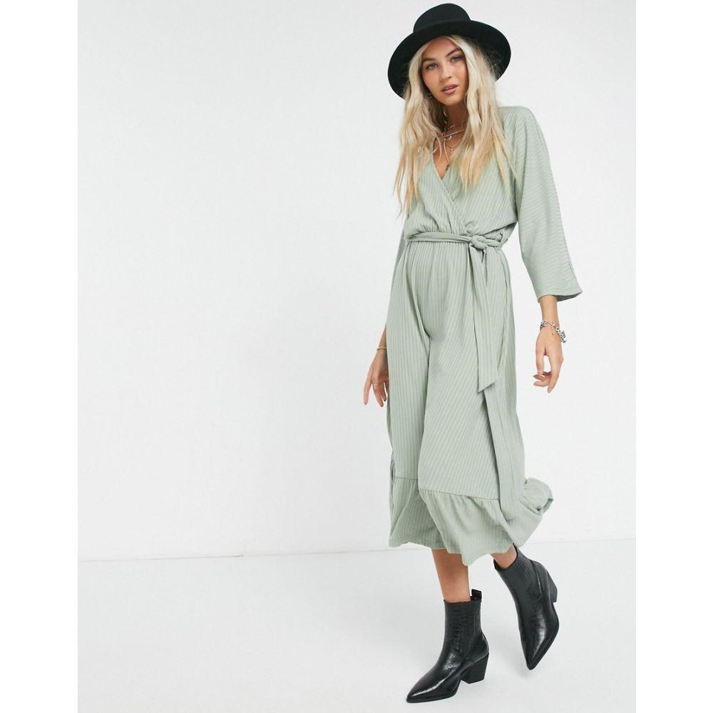 オブジェクト Object レディース ワンピース ラップドレス ミドル丈 ワンピース・ドレス【Iman wrap midi dress in green】Shadow