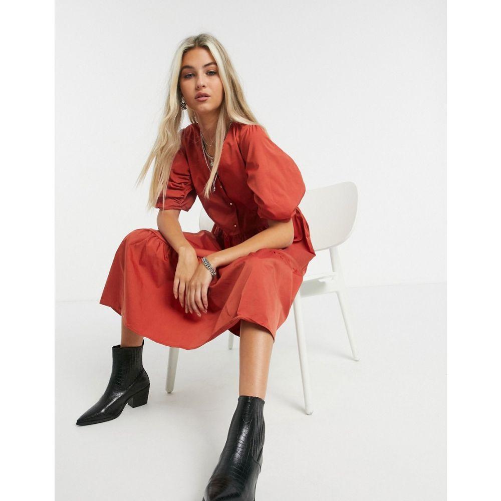 オブジェクト Object レディース ワンピース ミドル丈 ワンピース・ドレス【Tamara puff sleeve midi smock dress in red】Tandoori spice