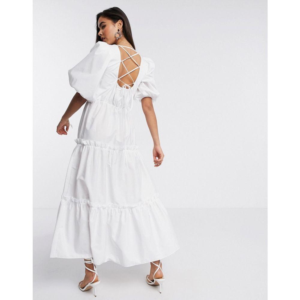 リバーアイランド River Island レディース ワンピース ティアードドレス ワンピース・ドレス【tiered poplin maxi dress in white】White