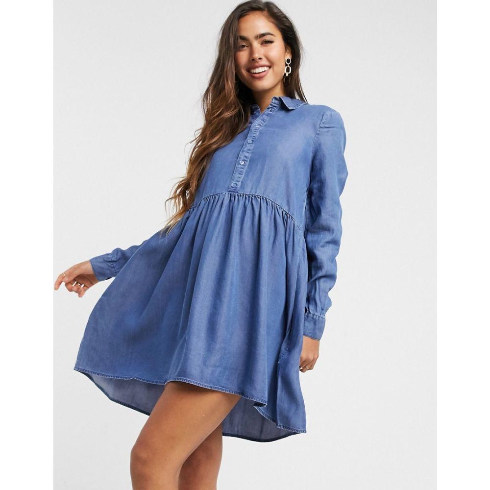 ヴェロモーダ Vero Moda レディース ワンピース デニム シャツワンピース ワンピース・ドレス【denim smock shirt dress in blue】Blue