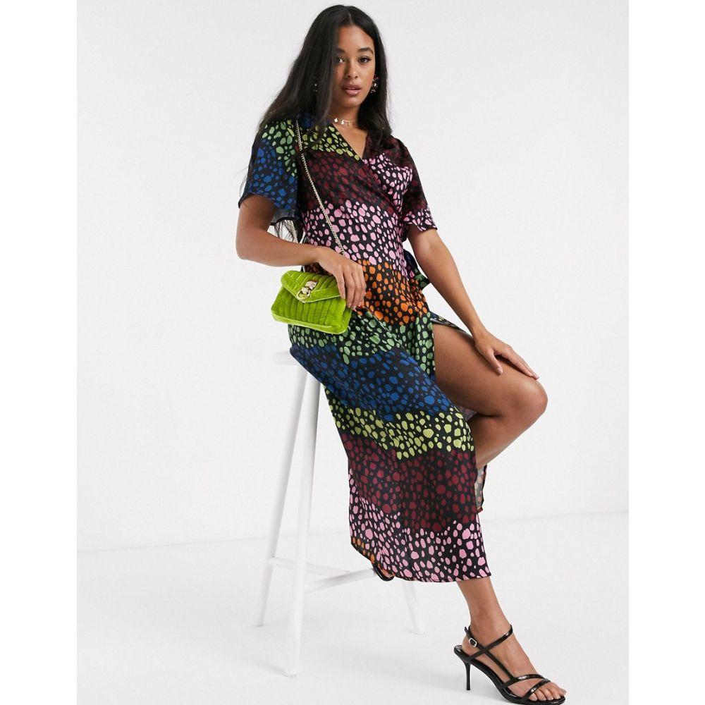 ネバーフリードレス Never Fully Dressed レディース ワンピース ラップドレス ミドル丈 ワンピース・ドレス【splice wrap midi dress in contrast leopard print】Multi