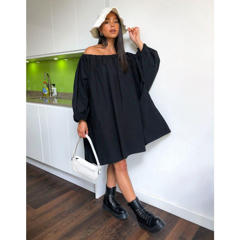 ウィークデイ Weekday レディース ワンピース ワンピース・ドレス【Tuva organic cotton volume dress in black】Black