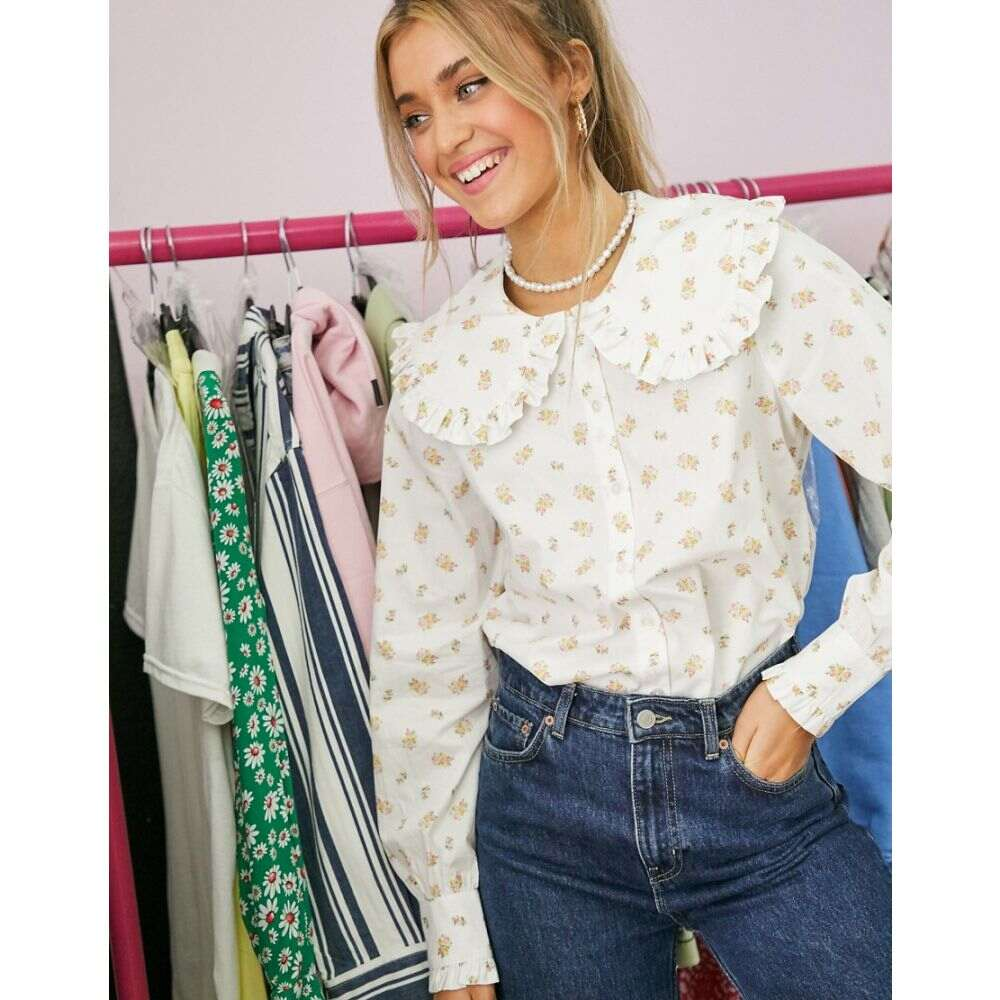 モンキ Monki レディース ブラウス・シャツ トップス【Maddy organic cotton floral print oversized collar shirt in multi】Multi