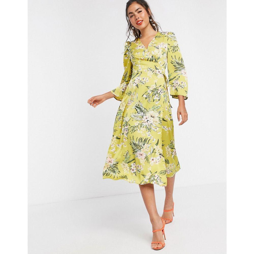 リカリッシュ Liquorish レディース ワンピース ラップドレス ワンピース・ドレス【satin wrap dress in yellow floral】Yellow floral