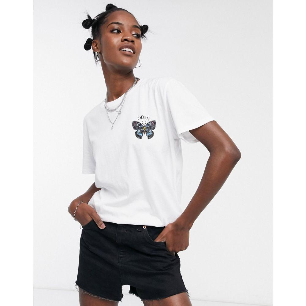オベイ Obey レディース Tシャツ トップス【oversized t-shirt with butterfly logo graphic】White