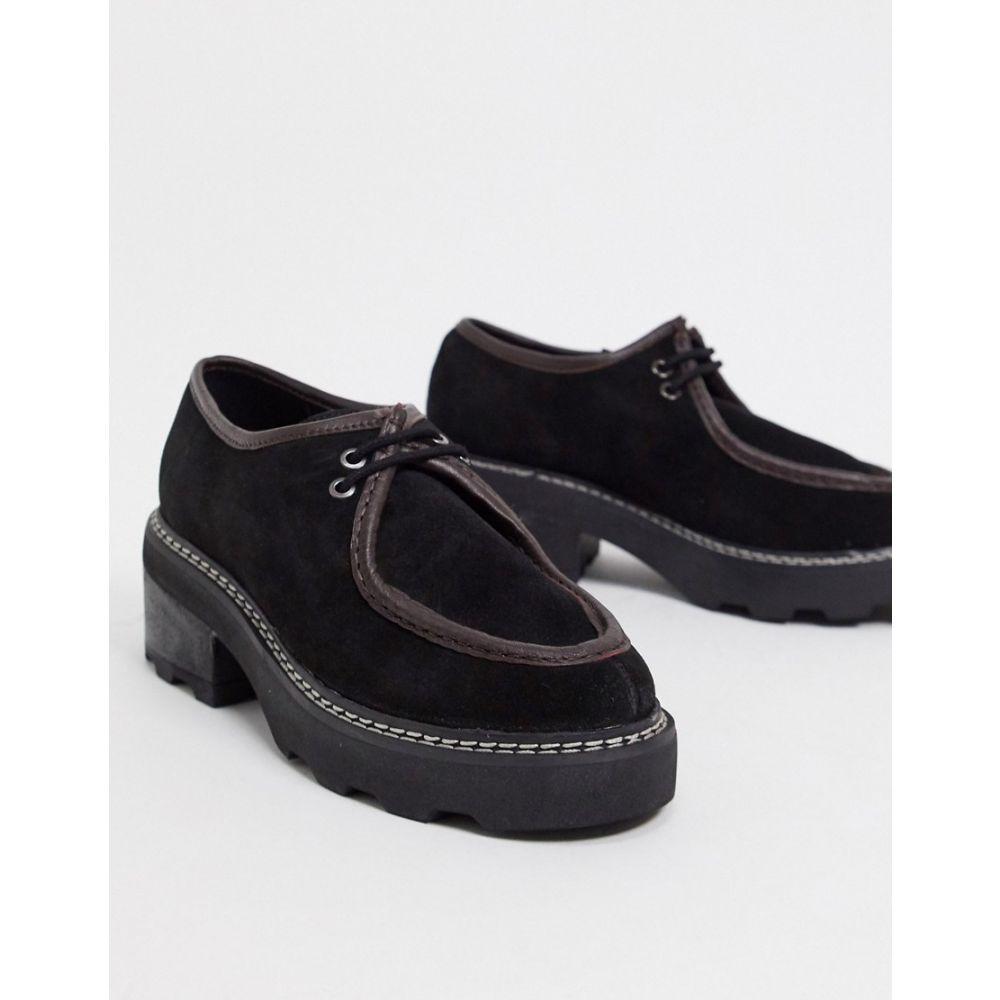 エイソス ASOS DESIGN レディース シューズ・靴 チャンキーヒール レースアップ【Mysterious premium leather chunky lace up flat shoes in black and tan】Black/tan suede