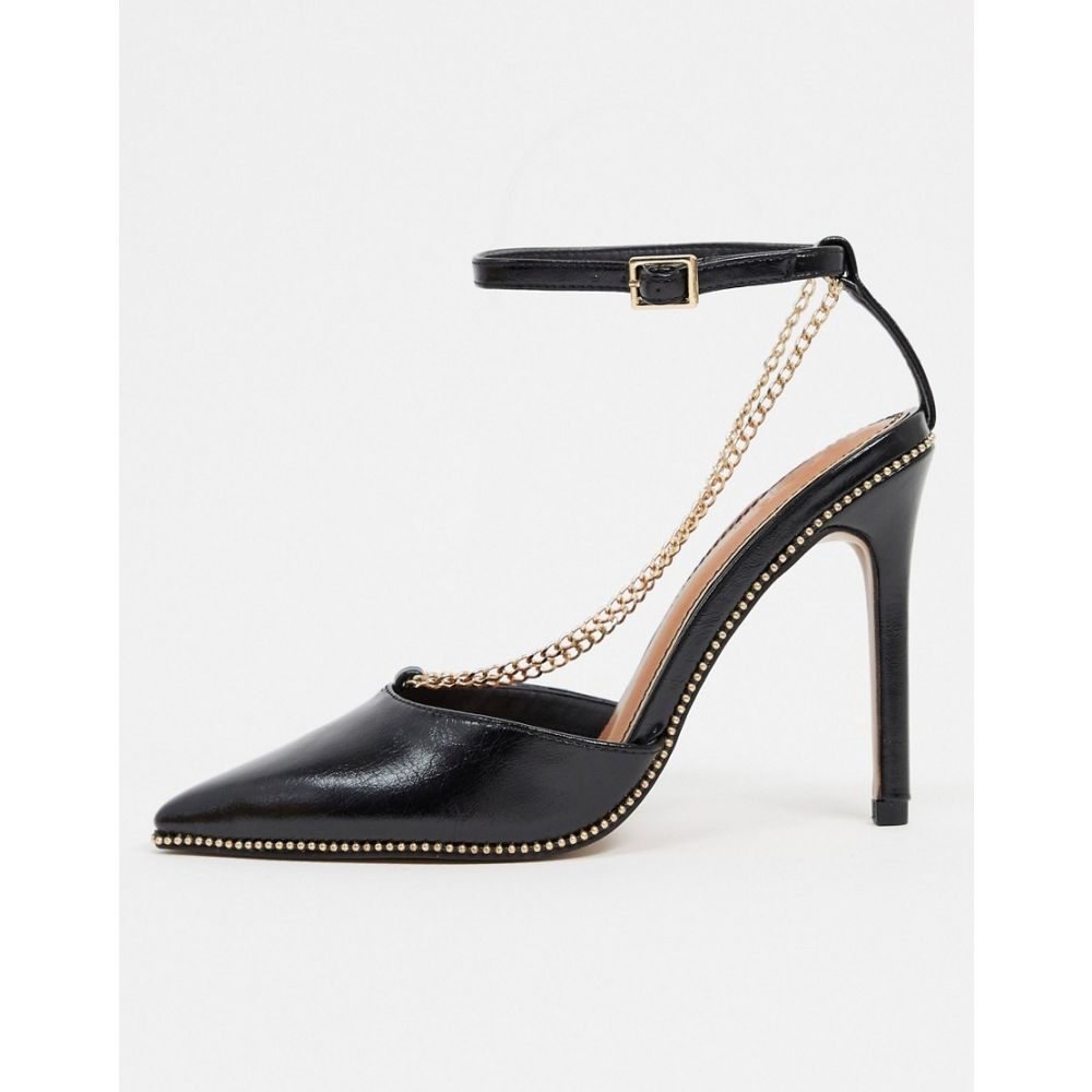 エイソス ASOS DESIGN レディース ヒール シューズ・靴【Priscilla pointed high heels with chain in black】Black