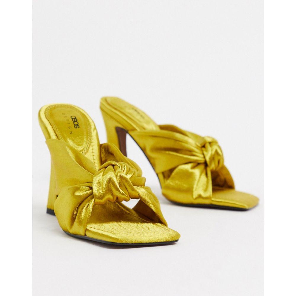 エイソス ASOS DESIGN レディース サンダル・ミュール シューズ・靴【Norbiton satin twist mules in yellow】Yellow
