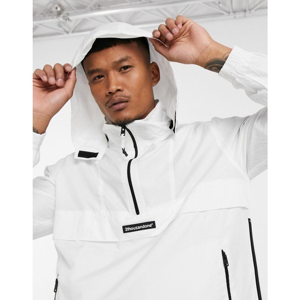 ベルシュカ Bershka メンズ ジャケット ウィンドブレーカー アウター【lightweight overhead windbreaker in white】White