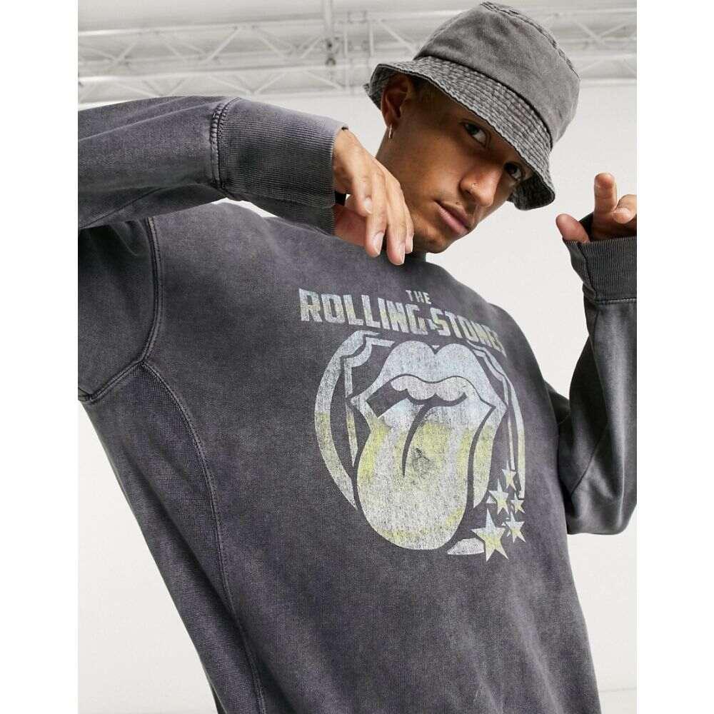 プル&ベアー Pull&Bear メンズ スウェット・トレーナー トップス【Rolling Stones sweatshirt】Black