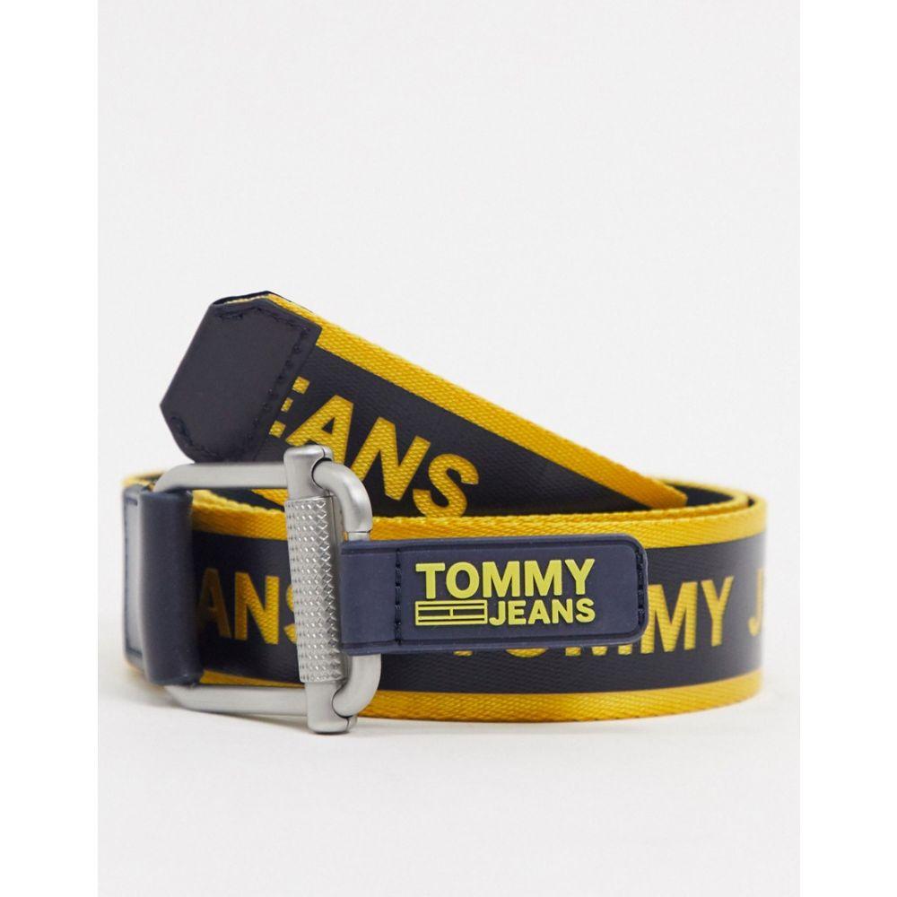 トミー ジーンズ Tommy Jeans メンズ ベルト 【webbed belt in black with yellow logo】Black