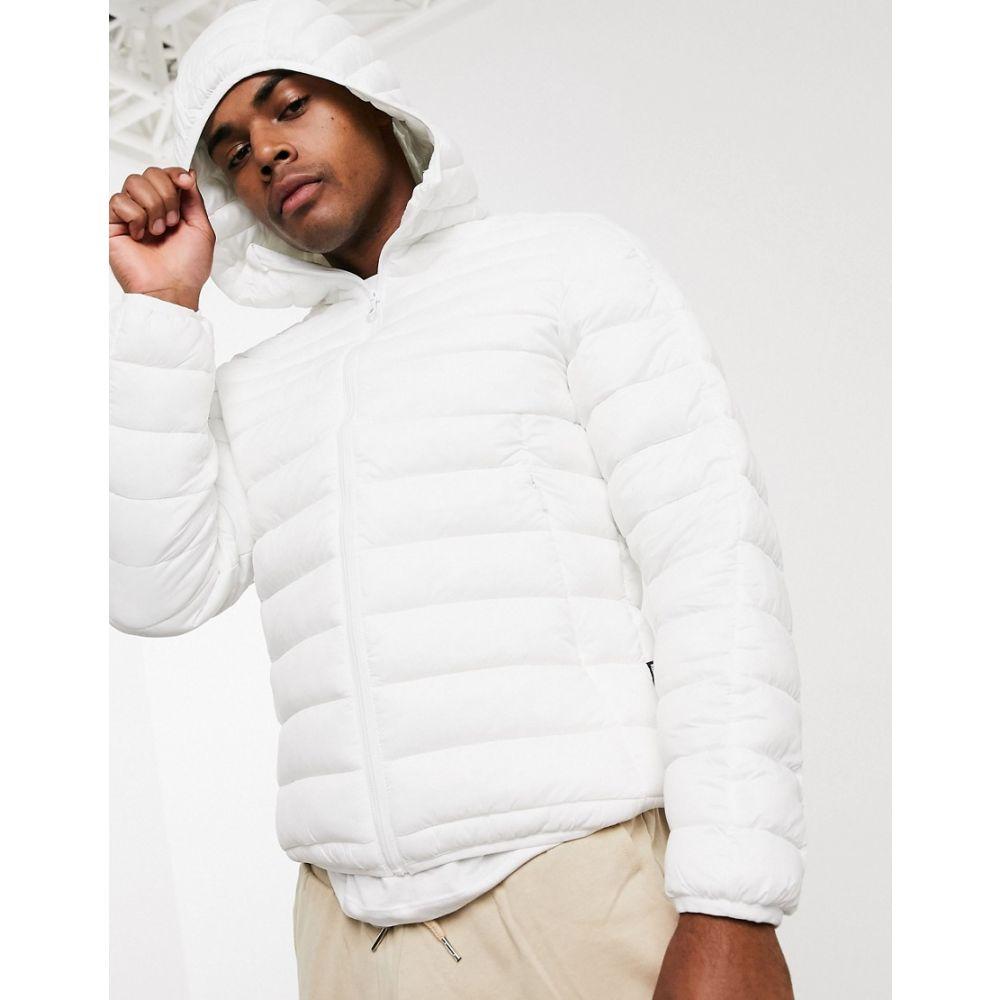 プル&ベアー Pull&Bear メンズ ダウン・中綿ジャケット アウター【Join Life lightweight padded jacket in white with hood】White