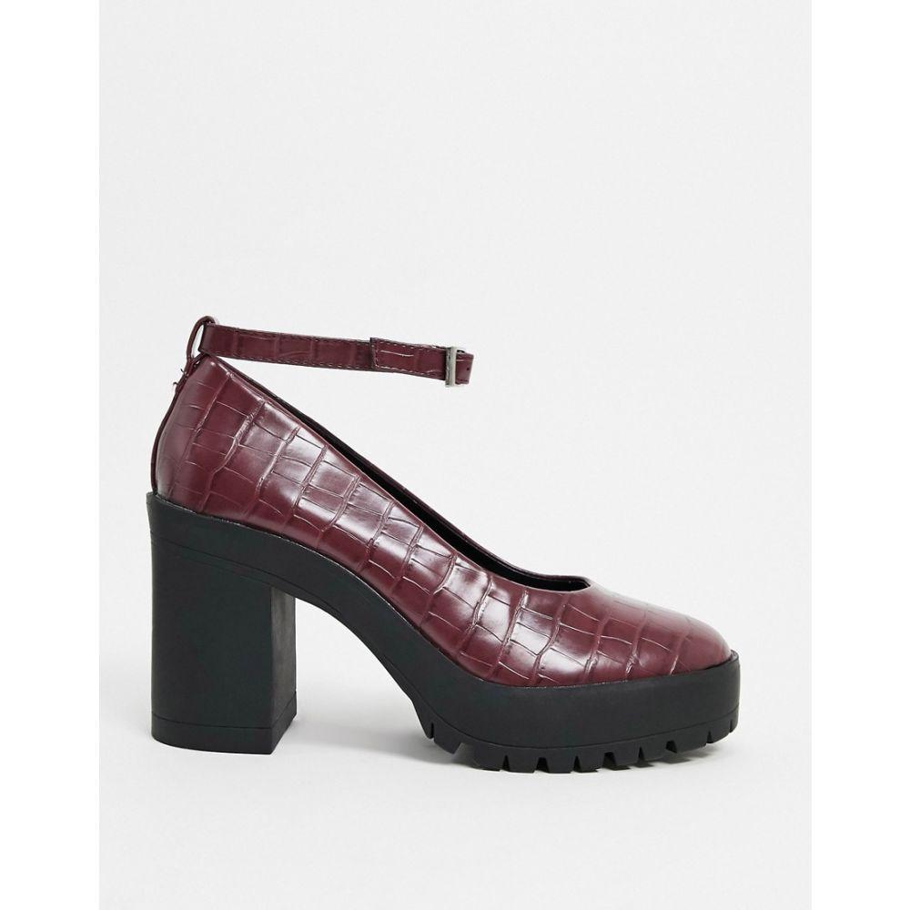 ロンドン レーベル London Rebel レディース シューズ・靴 チャンキーヒール【chunky heeled shoes in burgundy croc】Burgundy croc