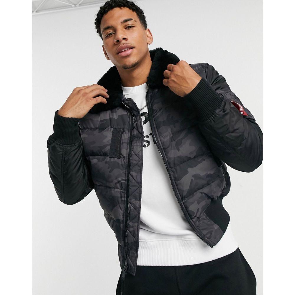 アルファ インダストリーズ Alpha Industries メンズ ジャケット アウター【nylon taffeta & two tone nylon jacket in black camo】Black