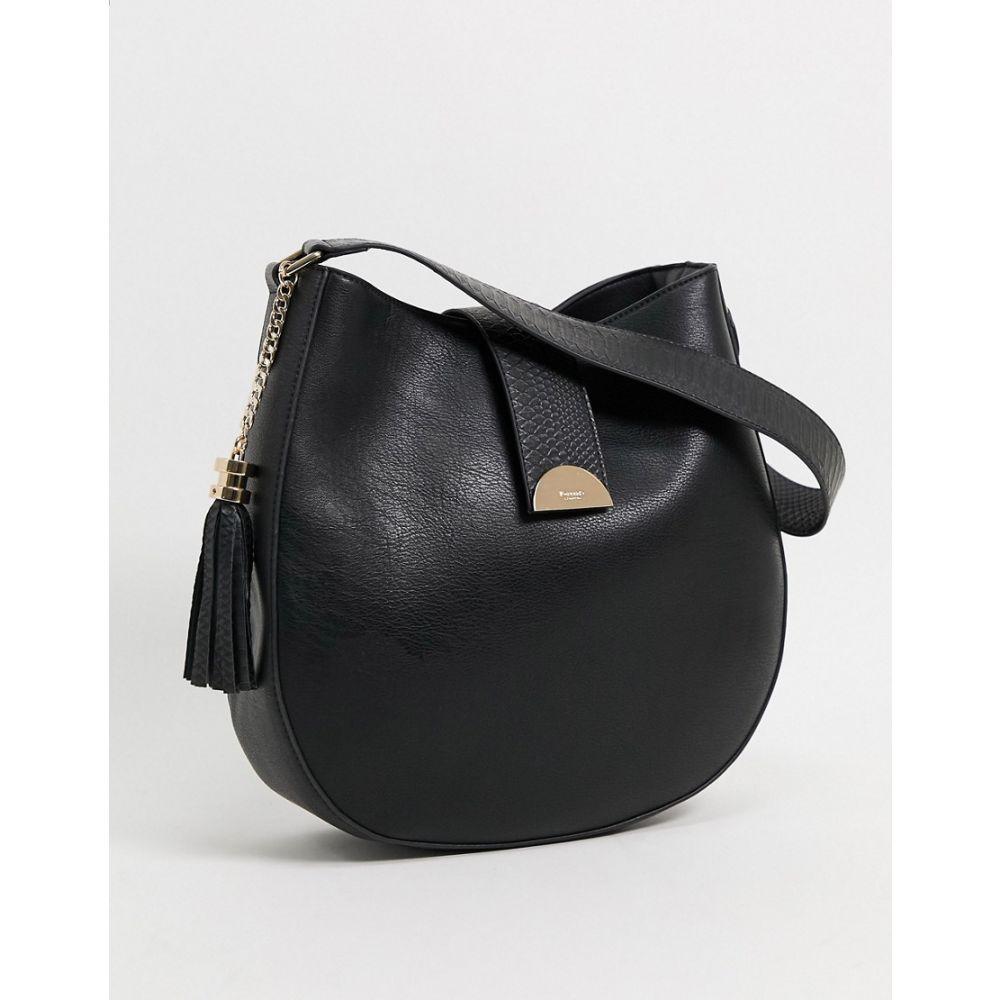 デューン Dune レディース トートバッグ バッグ【denise tote bag with faux reptile trim in black】Black pu