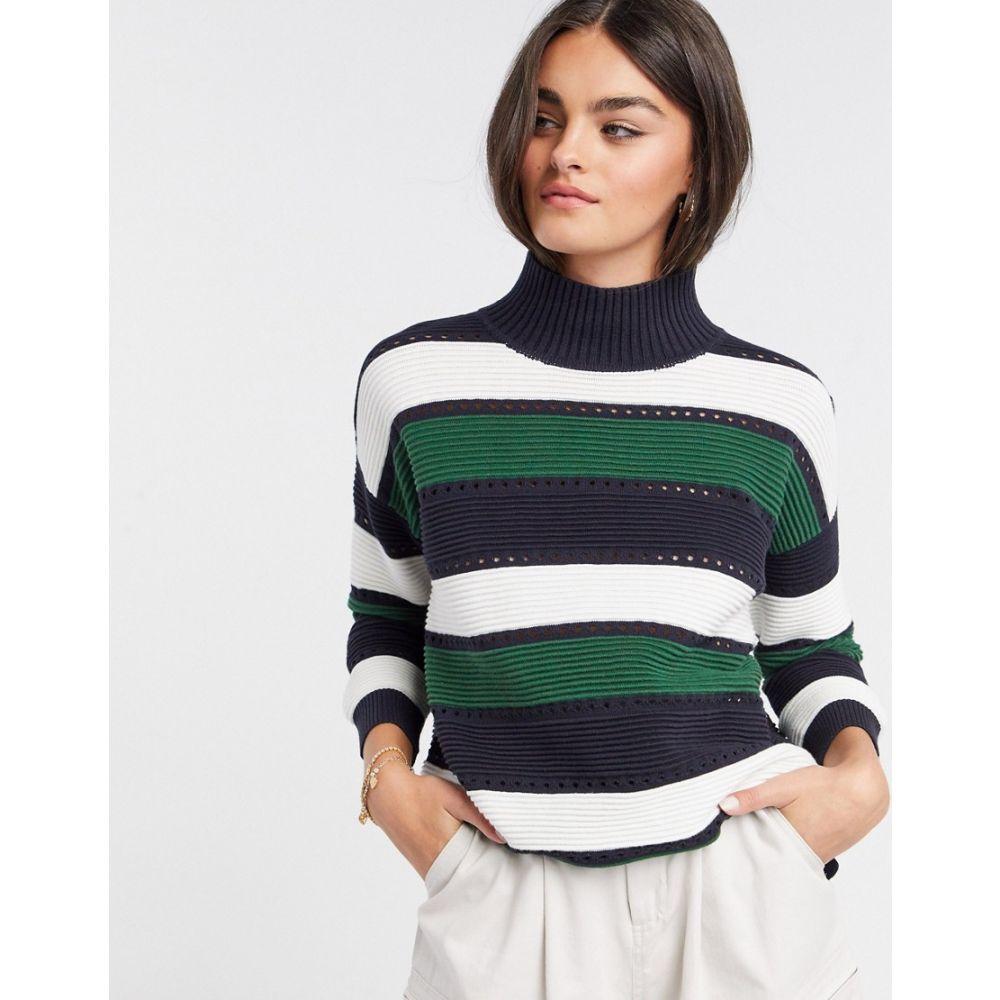 フレンチコネクション French Connection レディース ニット・セーター トップス【Liliya Stripe Knit Lace Hole Jumper】Utility blue multi