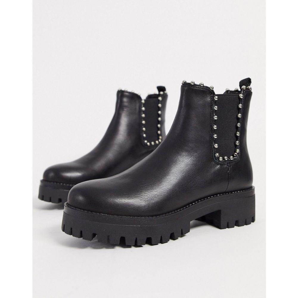 スティーブ マデン Steve Madden レディース ブーツ チェルシーブーツ シューズ・靴【aiken leather studded chelsea boots in black】Black leather