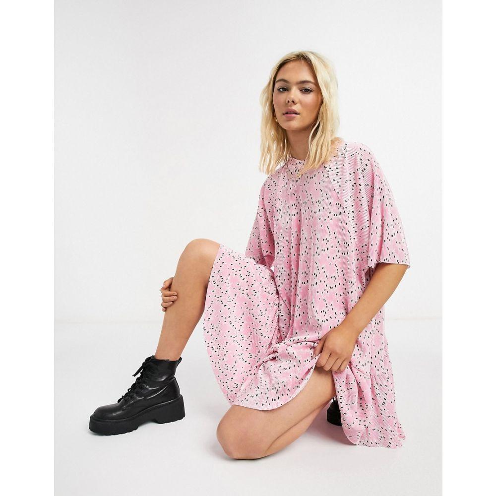 エイソス ASOS DESIGN レディース ワンピース ワンピース・ドレス【plisse mini dress with dip hem in pink floral print】Pink floral