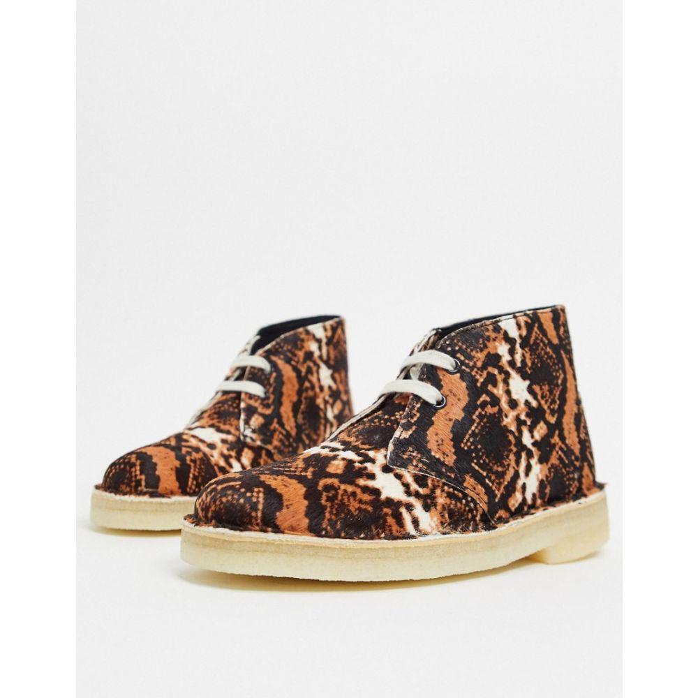 クラークス Clarks Originals レディース ブーツ シューズ・靴【desert boots in tan snake print】Tan snake print