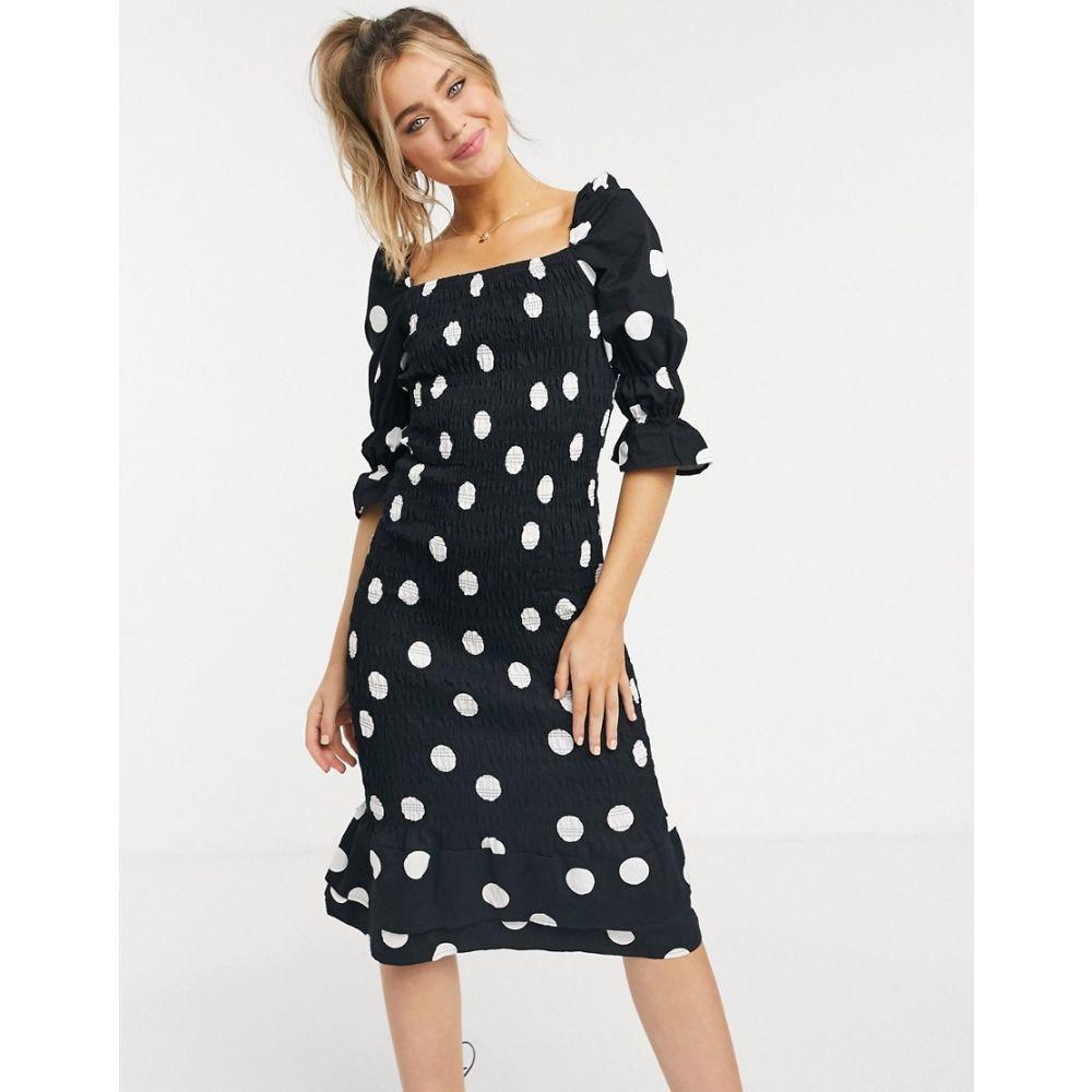 ネバーフリードレス Never Fully Dressed レディース ワンピース ミドル丈 ワンピース・ドレス【shirred peplum hem midi dress in mono spot print】Mono