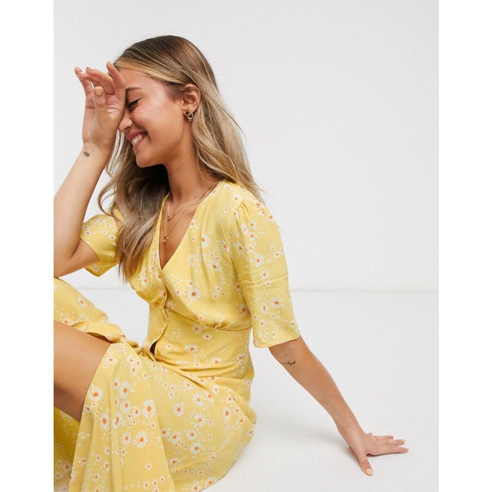 ノーバディーズ チャイルド Nobody's Child レディース ワンピース ミドル丈 ワンピース・ドレス【button front midi tea dress in yellow floral】Yellow floral