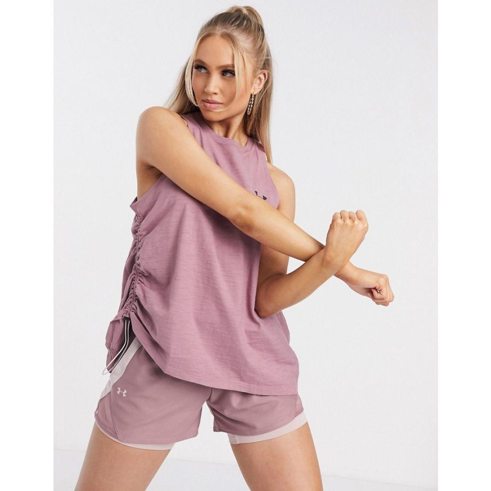 アンダーアーマー Under Armour レディース フィットネス・トレーニング タンクトップ ベスト・ジレ トップス【Training vest with adjustable ruching in blush pink】Pink