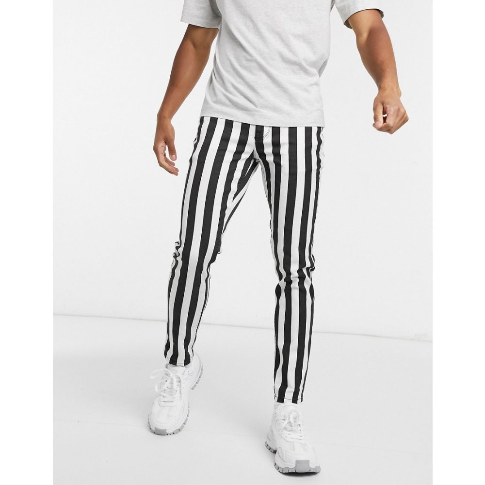 エイソス ASOS DESIGN メンズ ジーンズ・デニム ボトムス・パンツ【skinny jean in black and white wide stripe】Multi